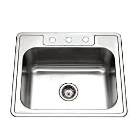 Houzer 2522-9BS4-1 Glowtone Single Bowl Drop-In Stainless Steel Sink, 25-by-22-by-9-Inch