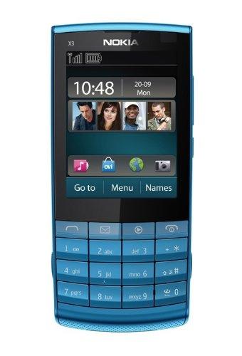 Unlocked Nokia X3-02 Ultrathin Bar Touch screen Handwriting Music Female mobile phone Hot-selling (Blue)