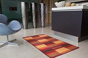Terracotta and Red Small Medium and Large Anti slip Non Shed Entrance Mat Luna- 8 sizes available from The Rug House
