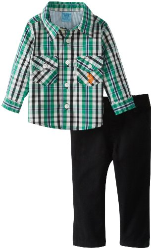 U.S. Polo Assn. Baby-Boys Infant Plaid Button Up Shirt With Twill Pant, Black, 12 Months