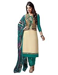 Surat Tex Cream Color Casual Wear Embroidered Chanderi Cotton Un-Stitched Dress Material-E429DL56RA