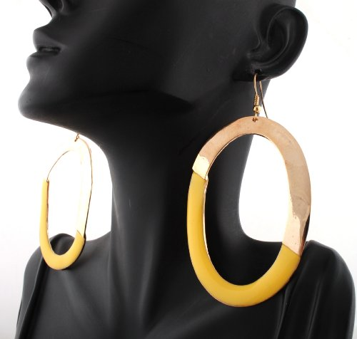 Basketball Wives Gold Oval Shaped with Yellow Hoop Earrings Poparazzi