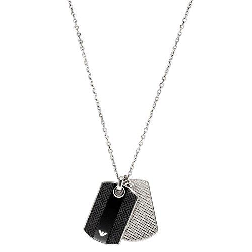 Emporio Armani - Collana, acciaio inossidabile con onice, Uomo, 55 cm