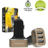 3 USB Port Car Charger, Boxgear {6.6 Amp} Rapid Charger Tri-Port USB Fast Charger For IPhone, Samsung Galaxy,...