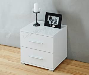 Labi neli commode table de chevet blanc de neige tr s for Table de chevet laque blanc brillant