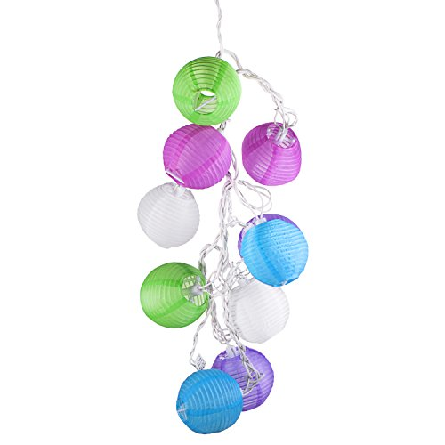 Led Concepts® Set Of 10 Multi-Color Indoor/Outdoor Mini Oriental Style Nylon Lantern Plug-In String Lights - Expandable