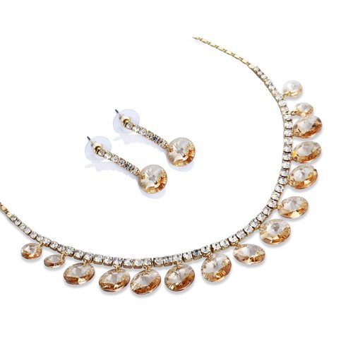 Pure Swarovski Crystallized Elements Beads Drape A Garland Necklace - Silk Topaz, Janeo Jewellery (Silk Elements Mixed Silk compare prices)