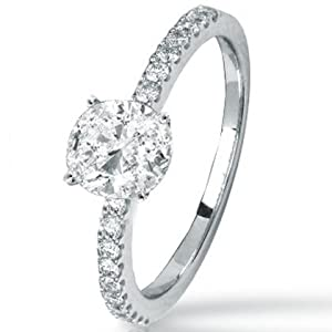 1.22 Carat Oval Cut / Shape 14K White Gold Classic Side Stone Prong Set Diamond Engagement Ring ( J Color , SI1 Clarity )