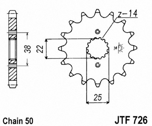 JT Sprockets JTF726.14 14T Steel Front Sprocket jt sprockets jtr503 45 45t steel rear sprocket