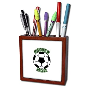 ph_16679_1 Deniska Designs Soccer - Soccer Mom with Ball - Tile Pen Holders-5 inch tile pen holder