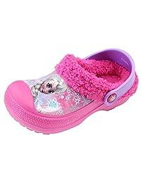 Disney Frozen Elsa Anna Girl's Pink Fur Winter Warm Clog Mule Shoes