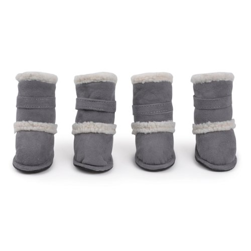 East Side Collection Polyester Classic Sherpa Dog Boot with Rubber Sole, Large, Grey