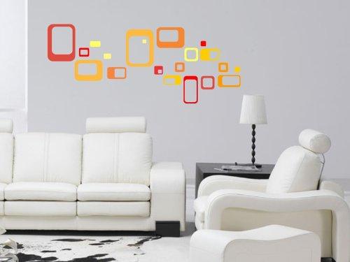 N1025 Viele mehrfarbigen plump quadratischen Wand Vinyl-Kunst-Aufkleber Removable diy Grafiken Wandmehrfarben - Dekoration