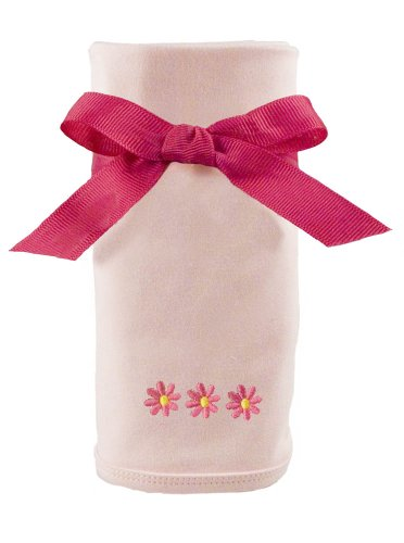 Princess Linens Cotton Knit Blanket with Embroidered, Daisy Motif