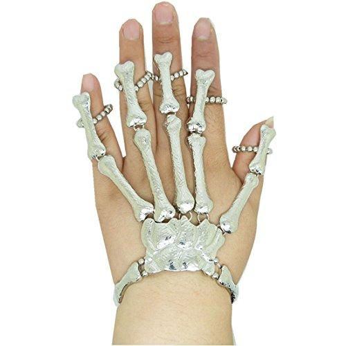 Voberry® Chic Punk Gothic Bones Silver Skull Skeleton Hand Fingers Ring Bracelet