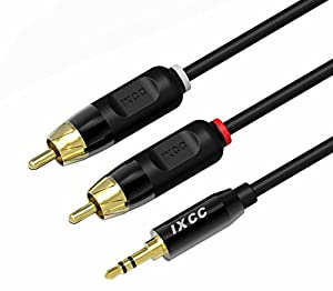 RCA Cable, iXCC® 6ft Dual Shielded Gold-Plated 3.5mm Male to 2RCA Male Stereo Audio Y Cable