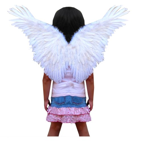 SACAS Small White Feather Angel Wings for kids, girls, or boys with Free Halo