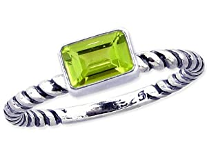 Twisted Sterling Silver Stackable Ring with East-West Small Octagon Genuine Stone-Peridot-in full,half,quarter sizes from 3.5 to 12_8.75