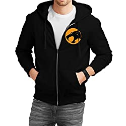Fanideaz Men's Cotton Thundercats Team Jaguar Zipper Sweatshirt with Hood_Black_S