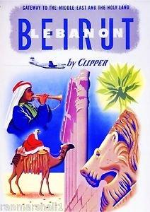 LanLan Beirut Lebanon by Clipper Airplane Vintage Travel Art Advertisement Poster