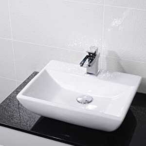 Countertop Bathroom Hand Wash Basin Bowl   1 Tap Hole, Surface Mounted, En Suite and Cloakroom, Modern Compact Square Ceramic Designer Vessel Sink. Dimensions   Width  445mm, Depth  334mm, Height  135mm       Customer reviews and more information