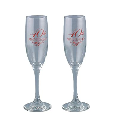 Hortense B. Hewitt Wedding Accessories 40th Anniversary Toasting Flutes, Set of 2
