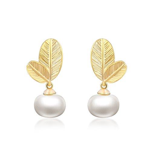 Orecchini per donne forma di foglia - Placcato oro 18K - Naturale perla d'acqua dolce 6 mm