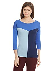 UCB Womens Cotton Sports Knitwear (16A1092D6111I901M_Blue and Multicolored)