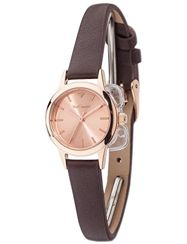 Yves Camani Gardanne Women's Quartz Watch with Rose Gold Dial Analogue Display and Brown Leather Bracelet Yc1076-C