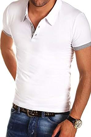 MT Styles - P-07 - T-shirt polo contrasté - coupe ajustée - Blanc - S