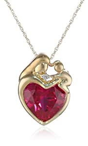 """10k Yellow Gold Heart-Shaped Created Ruby and Diamond-Accent Mother's Jewel Pendant Necklace, 18"""""""