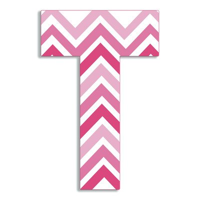 The Kids Room by Stupell Tri-Pink Chevron Hanging Wall Initial, T, 18""