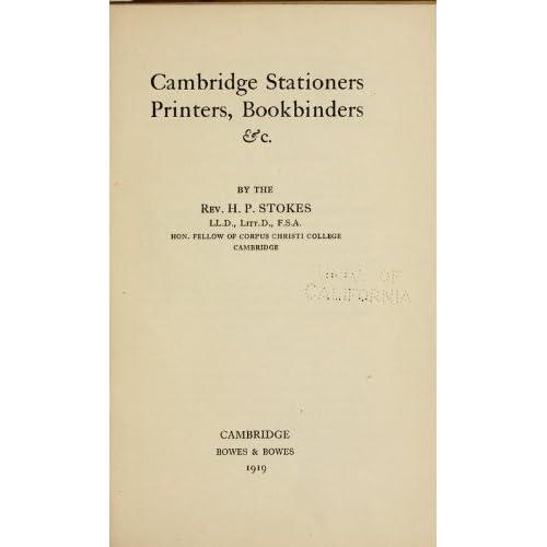 Cambridge Stationers, Printers, Bookbinders, Etc