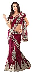 Jiya Fashion Women's Net Lehenga Choli (Maroon)