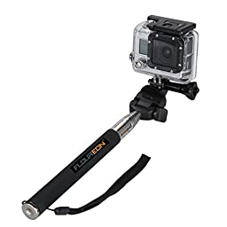 Floureon Selfie Stick Extendable Telescopic Handheld Pole Arm Monopod Remote View with Tripod Adapter for GoPro HD Hero 4/3/2/1 Digital Camera Black