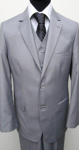 MUGA 2-Button mens Suit + Waistcoat, Gray, size 42R (EU 52)