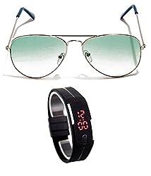 MagJons Green gradiant Aviator Sunglasses With Digital Slim Watch