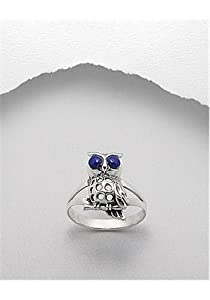Lapis Lazuli (Navy Blue) Owl Reconstructed stones Ring In 92.5 Sterling Silver