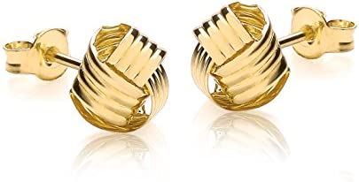 Carissima 9ct Yellow Gold 8mm Ribbed Knot Stud Earrings