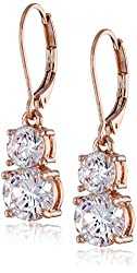 """Anne Klein """"Flawless"""" Rose Gold-Tone and Cubic Zirconia Double Drop Earrings"""
