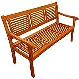 XXS® Gartenbank Cordoba, aus Akazie-Holz massiv, 3 Sitzer, 150 cm Breite, Holz-Bank für Balkon Garten Terrasse...