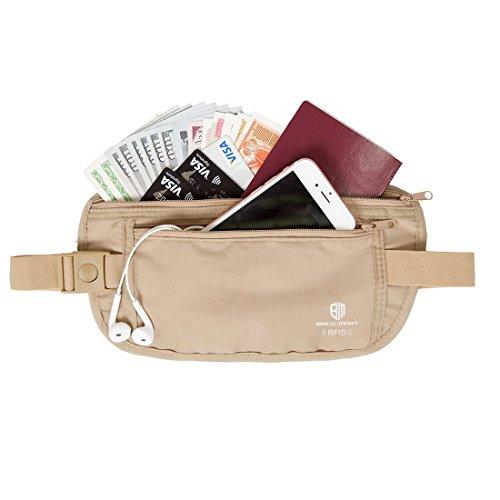 (バッグ・マート)Bags-mart 貴重品入れ シークレット ウエストポーチ 旅行用品 トラベルポーチ セキュリティケース 海外旅行便利グッズ 防犯グッズ 盗難対策 薄い ベージュ