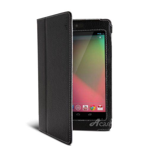 Acase PU レザーケース for Google Nexus 7 ブラック (スタンド機能付)