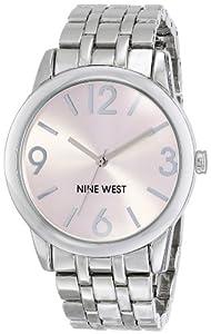 Nine West Women's NW/1579PKSB Light Pink Dial Silver-Tone Bracelet Watch