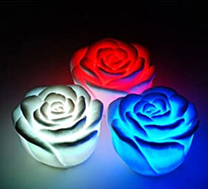 Domire Pack of 3 Color Changing Desk Bedroom Party Wedding Lamp LED Night Light,Rose from Domire