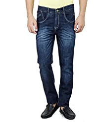 Mens Slim Fit Stretch Blue Denim Jeans For Men Size 32