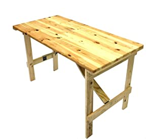 4' x 2' Wooden Trestle Table with wooden folding legs: Amazon.co.uk: Garden & Outdoors
