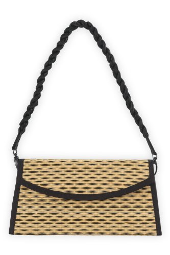 Baskets of Cambodia Hand Woven Tatami Clutch (Black Speckled)