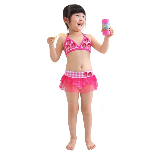 Your Gallery Cute Lovely Flower Ruffle Check Bikini Skirt Tie Back Top for Little Girls, 5T (110-120cm) image