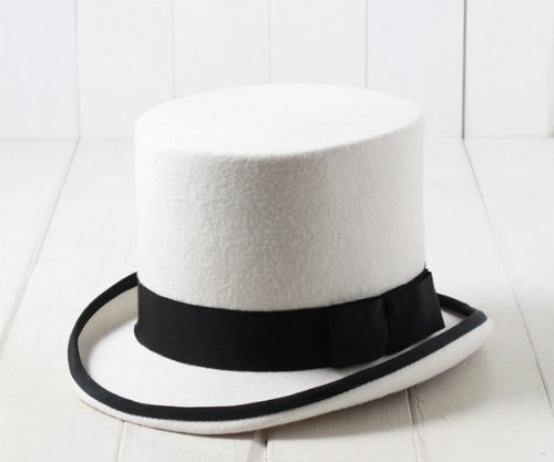 (エド) edo ウールフェルトホワイトシルクハット[HIGHT] 64266502 ホワイト×ブラック トップハット 羊毛 ホワイト 真っ白 メンズ 男性 紳士 帽子